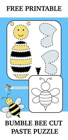 We have Free Bumble Bee cut and paste puzzle printable for Kids.You need to cut out the BUMBLE BEE PARTS from second page and paste the parts in first page in the given bumble bee outline. It provides an opportunity for young ones to have fun and at the same time build their skills. Children can learn colors and which part to paste and where. It also helps in developing fine motor skills, cognition, visual senses and matching skills.