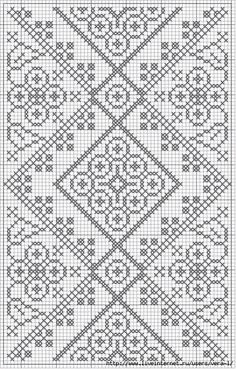 free crochet / cross stitch chart - looks like laceFree crochet chart could be cross stitch >>> Would be a very pretty double-sided knitting pattern! :) -- or in my case a dreamt of blackwork project.Free Filet Crochet Patterns - Crochet Favorites for Eve Filet Crochet Charts, Crochet Cross, Knitting Charts, Knitting Stitches, Free Crochet, Knitting Patterns, Crochet Patterns, Filet Pattern Crochet, Crochet Edgings