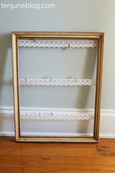 Ten June: Vintage Inspired, Burlap + Lace Wedding DIY Projects. Lace photo board DIY. #clothespin #lace #pictureframe
