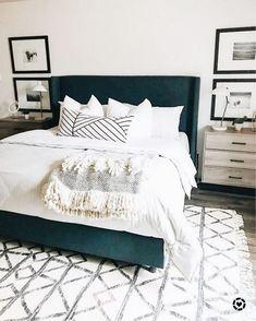 45 Best Modern Bedroom Design Ideas - Home Decorating Inspiration Blue Master Bedroom, Dream Bedroom, Home Decor Bedroom, Bedroom Wall, Bedroom Rugs, Master Bedrooms, Diy Bedroom, Bedroom Artwork, Bedroom Modern