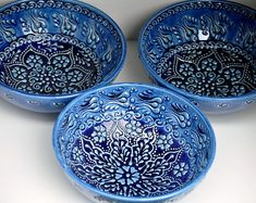 Royal BLUE Ombre Colored Ceramic Bowls HAND-MADE and Hand-Painted with Moroccan Bohemian Henna Designs for Home Decor #homedecore #bowls #MoroccanBohemian #etsy