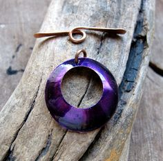 Necklace Purple color Toggle Clasp  Copper by NadinArtGlass, $9.20