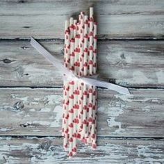 Red Heart Paper Party Straws