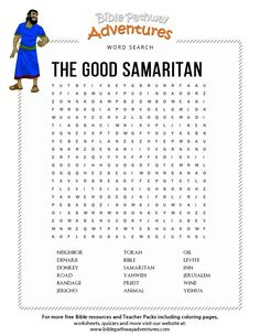 Enjoy our free Bible Word Search: The Good Samaritan. Fun for kids to print and learn more about the Bible. Feel free to share with others, too! Bible Object Lessons, Bible Lessons For Kids, Bible For Kids, Kids Sunday School Lessons, Sunday School Activities, Church Activities, Classroom Activities, Good Samaritan Bible, Word Seach
