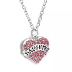(M1) Daughter Necklace Cute silver toned zinc alloy necklace. Chain is about 25 inches plus an additional chain extender and lobster clasp. Pink rhinestones. New in package. Jewelry Necklaces