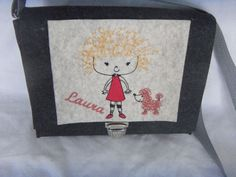 Kindertasche,Beutelhuhn,Mädchen mit Hund ,Wollfilz,anthrazit,rot,mit Wunsch Name