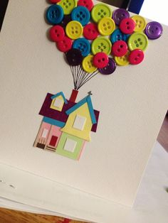 UP themed wedding card...would be cute as a guest book page...guests glue a button