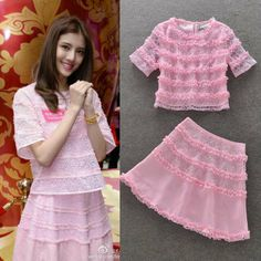 Runway 2014 Pink Short Sleeve Lace Blouse+ Lace Skirt (1 set)   Cute Pink Skirt suits for women  140510VV03 $75.00
