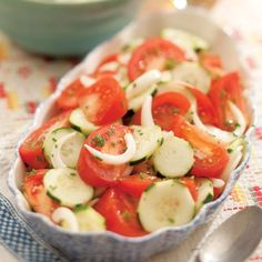 Summer Tomato, Onion and Cucumber Salad. Grandmother's favorite! She used to make it all the time<3
