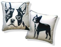 Boston Terrier Pillow by Naked Decor eclectic pillows