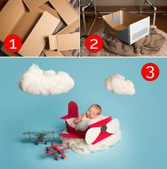 Cute newborn photography with  airplane