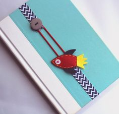 Elastic Ribbon Bookmark, Kids Bookmark, Rocket Bookmark, Spaceship, Place Holder, Filofax, Bible, Text Book, Back to School, ebmrocket07