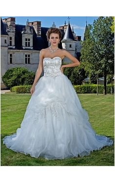 Ball Gown Sweetheart Cathedral Train Organza And Satin Wedding Dress