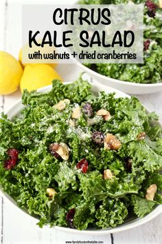 This fresh citrus kale salad is light and lemony with crunchy walnuts, tart dried cranberries, Parmesan cheese and a hint of sweetness! Kale Salad Recipes, Healthy Pasta Recipes, Healthy Salads, Veggie Recipes, Whole Food Recipes, Vegetarian Recipes, Healthy Eating, Eating Vegan, Vegetarian Options
