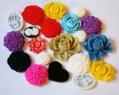 20 Pc Decoden Kawaii Floral Rose Cabochon Lot in by PoshAlchemy, $5.00