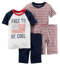 Carter's Baby Clothing Outfit Boys 4-Piece Snug Fit Cotton PJs Free to Be Cool Navy 6M