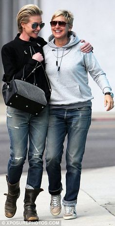 The DeGeneres' only had eyes for each other during an afternoon of furniture shopping in West Hollywood.