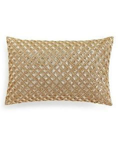 """Hotel Collection Leaflet Gold 14"""" x 22"""" Decorative Pillow $170 #HotelCollection #Contemporary Seasonal Decor, Fall Decor, Christmas Planning, Stocking Tree, Gold Embroidery, Holiday Looks, Babies First Christmas, Kids Jewelry, Leaf Design"""