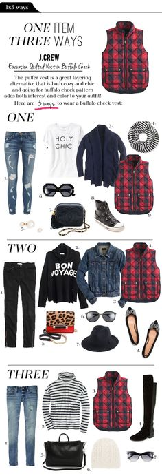 The Vault Files: Ways: Buffalo Check Puffer Vest Fall Winter Outfits, Autumn Winter Fashion, Puffer Vest Outfit, Red Puffer Vest, Excursion Vest, Casual Outfits, Cute Outfits, Work Outfits, Plaid Vest