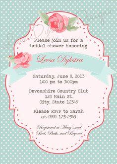 Shabby Chic Invitation Printable Pink and by LeesaDykstraDesigns