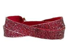 Red Leather and Swarovski Crystal Wrap Bracelet with Copper Magnet Closure