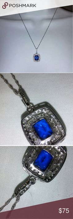 ? Beautiful Sapphire Necklace ? Pendant says VJ China 925 Sterling. Chain says 925 Italy. Brand New Condition.  Comes in a pretty box. Saber's Jewelry  Jewelry Necklaces