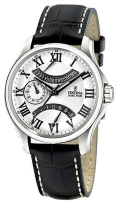 FREE & FAST US SHIPPING. Festina F16275/5 Men's Watch Dual Time Silver Dial On Black Leather Strap.