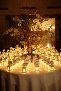 Lantern (escort card and favor) table
