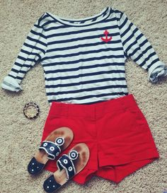 Shirt- Jcrew Shorts- Jcrew Shoes- Jack Rogers Bracelet- Lilly Pulitzer Preppy- to the max Preppy Mode, Preppy Girl, Preppy Style, Style Me, Adrette Outfits, Preppy Outfits, Summer Outfits, Nautical Outfits, Passion For Fashion