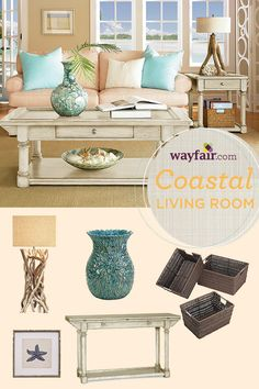 A beachy color palette of coral and turquoise makes for a relaxing seaside living room retreat. Click to find these items and more and learn how to style a coastal-inspired living space.