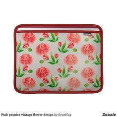Pink peonies vintage flower design MacBook sleeve