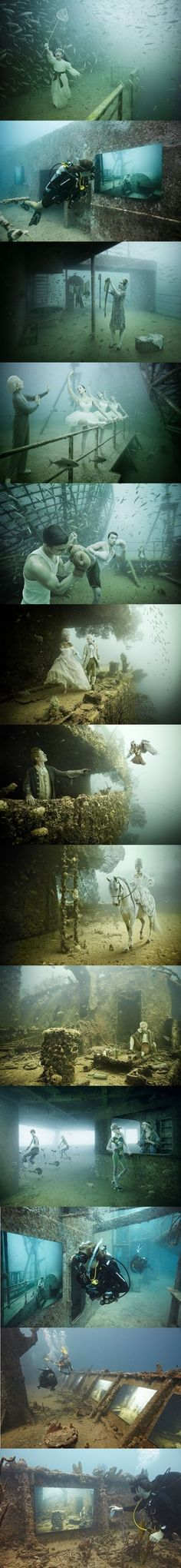 Isla Mujere's Underwater Museum in Cancun sits just below the waves on the floor of the Mexican Caribbean. Great diving place to take pictures! Oh The Places You'll Go, Places To Travel, Places To Visit, Dream Vacations, Vacation Spots, Mexico Vacation, Beautiful World, Beautiful Places, Underwater Photography