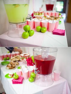 Baby Shower - Green Apples and pink lemonade awesome ideas for pink and green girl baby shower Baby Shower Fall, Baby Shower Games, Baby Boy Shower, Baby Girl Sprinkle, The Giving Tree, Baby Shower Gender Reveal, Pink And Green, Green Girl, Candy Buffet