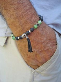 Men's Bracelet with Black Carved Quartzite Baked by tocijewelry, $45.00