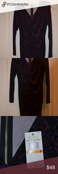 NWT Michael Kors Dress Long sleeved Purple & Black Dress gathered down the front in order to hang beautifully. Visible Silver zipper in back. KORS Michael Kors Dresses Midi