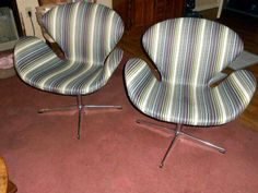 """Reproduction """"swan chairs""""  I have 6 of these   beauties for sale... they swivel and are gorgeous!!   can be seen at craigslist..the url is under us here...."""
