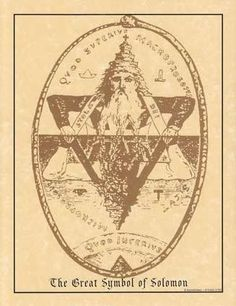 The Great Symbol of Solomon. By Eliphas Levi from his book Transcendental Magic; The Double Triangle of Solomon, represented by the two Ancients of the Kabbalah; the Macroprosopus and the Microprosopu