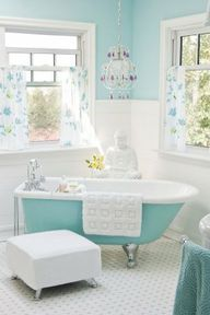Love the blue! and of course, I love the claw-foot bathtub!