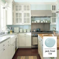 A robin's egg, such as Benjamin Moore's Jack Frost 729, is a sea-glass blue-green that avoids being cold, and extend it over the ceiling to enhance its ethereal quality. | Cultivate.com
