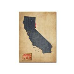 Trademark Fine Art State Denim Map Canvas Wall Art, Multicolor
