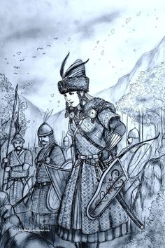 A concept drawing for the Hungarian/Magyar Women Warriors in the Historically Wrong Sketch Series: Medieval Revisited, which is roughly based on the Mid. Haraszt-Hazi Orsolya of Karpati Kiralysag (Magyar) Historical Women, Historical Pictures, Fantasy Armor, Dark Fantasy, Elven Woman, Woman Warrior, Vikings, Character Inspiration, Character Design