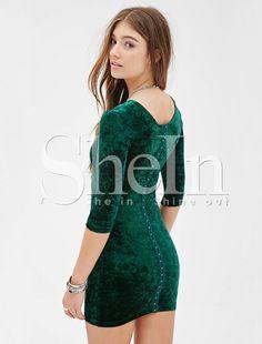 Green Long Sleeve Bodycon Dress 12.33