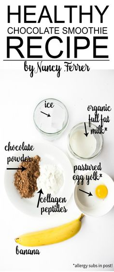 Healthy Chocolate Smoothie Recipe… Baby Recipes, Best Gluten Free Recipes, Primal Recipes, Real Food Recipes, Healthy Chocolate Smoothie, Protein Smoothies, Chocolate Flavors, Banana Allergy, Slushies