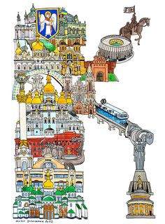 K, Kiev (Ukraine) - ABC illustration series of European cities - by Hugo Yoshikawa (Japanese illustrator)