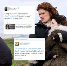 Outlander Clan — livelyandcolourful:   Sam & Cait being cute and...