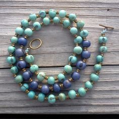 Açaí Turquoise and Blue Seeds Long Necklace   acai beads by RumCay, $29.95