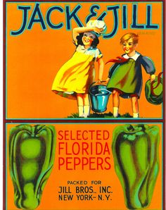 Vintage Original Jack & Jill Brand Vegetable Crate Label. Dates to the 1940s Great item to frameCraft item. Scrapbooking, Decoupage...