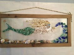 The Mermaid. Beach Glass Sea shell starfish framed art