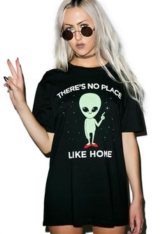 """No Place Like Home Tee cuz honestly home is where the pants aren't. Go to yer happy place in this extraterrestrial sleeve t-shirt is made from a supa soft material and features an alien graphic in Dorothy's red slippers that reads, """"there's no place like home"""" with a perfectly comfy relaxed fit so click those heels bb."""