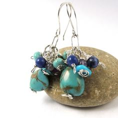 Turquoise Earrings in Sterling Silver with Purple and Blue Stone Cluster